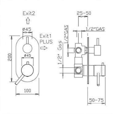 2-way coaxial shower thermostat 2329TM convertible Gaboli Flli