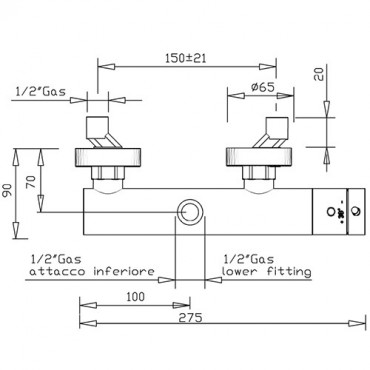 Thermostatic transformable shower mixer 2325TM Gaboli Flli