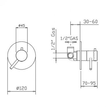 Mitigeur thermostatique de douche coaxial 1 voie 2316TM Gaboli Flli