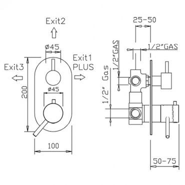 Termostatico coassiale doccia 3 vie 2331TM trasformabile Gaboli