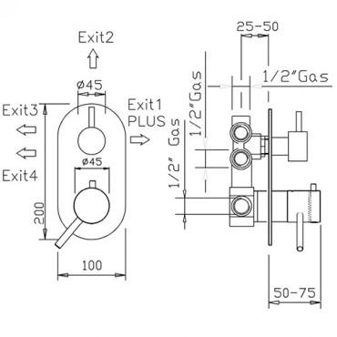 Miscelatore termostatico coassiale doccia 4 uscite 2333TM trasformabile in miscelatore classico