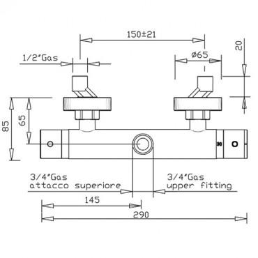 Miscelatore termostatico per colonna doccia 2428TM Gaboli Flli