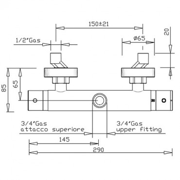 Mitigeur thermostatique pour colonne de douche 2428TM Gaboli Flli