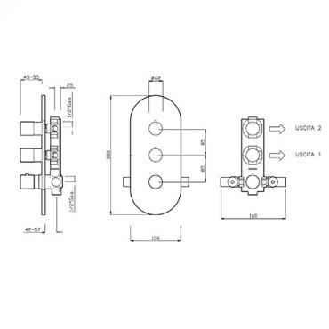 Miscelatore termostatico per doccia 2 vie 2455TM Gaboli Flli