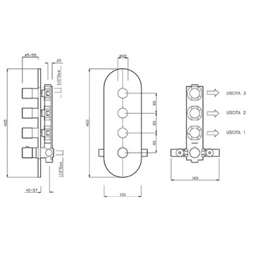 Mitigeur thermostatique de douche 3 voies 2456TM Gaboli Flli