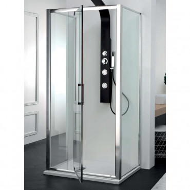 Center wall shower enclosure with double glass hinged door FPB40 Colacril