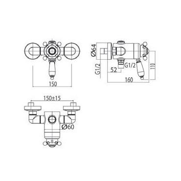 Miscelatore doccia termostatico esterno 2480TM Gaboli Flli