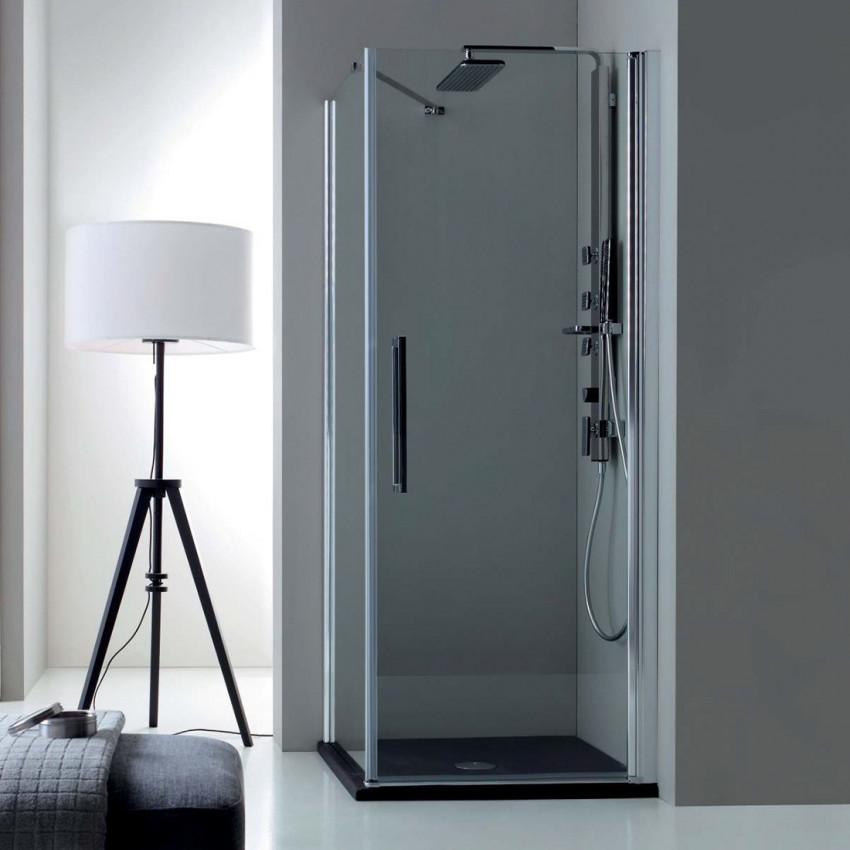 Corner shower enclosure with hinged door TEPB42 Colacril