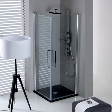 Corner shower enclosure with double hinged door TEPB42 Colacril