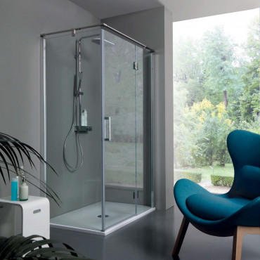 Corner shower enclosure with hinged door TPB72 Colacril