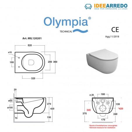 wc senza brida misure Milady Olympia Ceramica