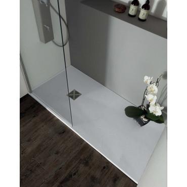 Receveur de douche rectangulaire effet pierre en résine Colacril 70 plate