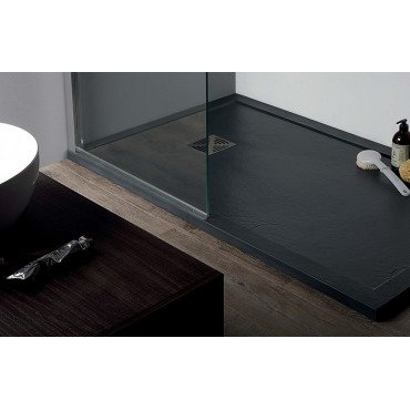 Stone effect shower tray in resin 70 Flat with Colacril edge