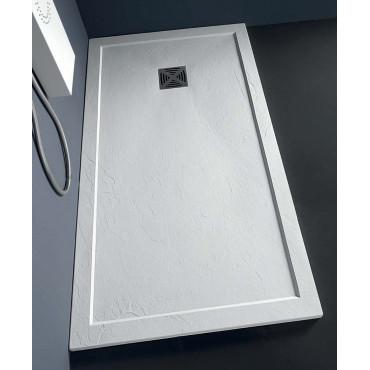 Receveur de douche rectangulaire en pierre effet résine 80 Flat avec bord Colacril