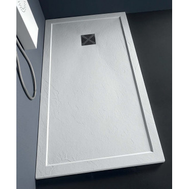 Rectangular shower tray in resin effect stone 80 Flat with Colacril edge