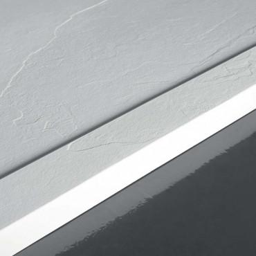 Receveur de douche rectangulaire en résine effet pierre 80 Flat avec rebord en Colacril
