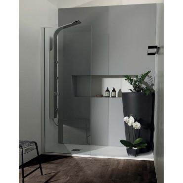 Receveur de douche rectangulaire en résine 90 effet pierre Colacril plat