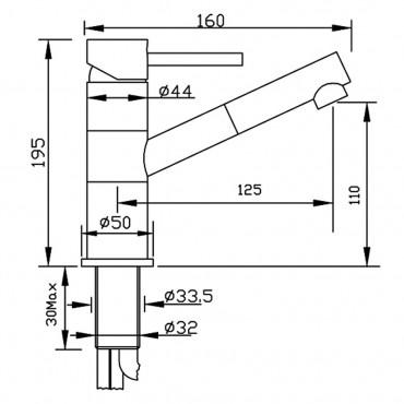 Miscelatore lavabo con doccetta estraibile Simply 2688 Gaboli Flli