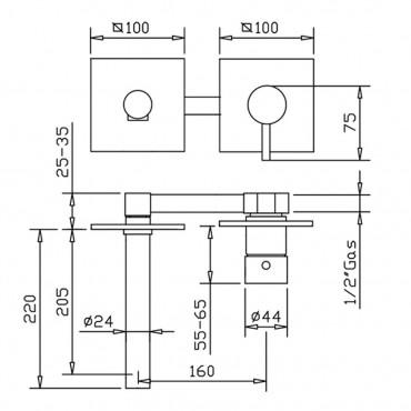wall mounted mixers for washbasin Gaboli Flli rubinetteria