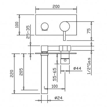 wall mounted taps for washbasin Gaboli Flli rubinetteria