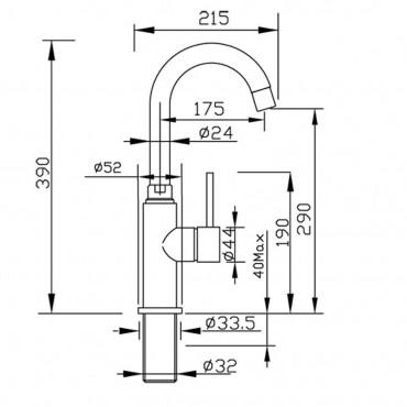 miscelatore lavabo bagno alto Gaboli Flli Rubinetteria Simply 2602