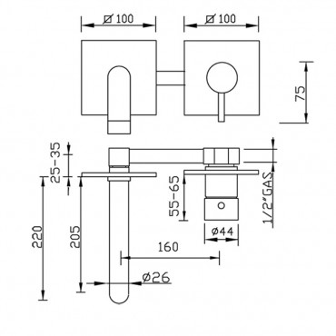 Miscelatore lavabo ad incasso interasse fisso Simply 2671