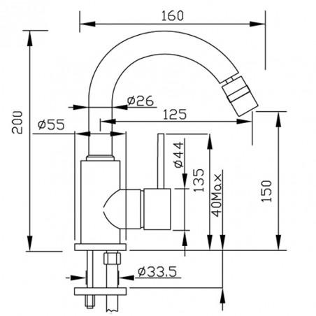 scheda tecnica rubinetto bidet Simply Gaboli Fratelli rubinetteria
