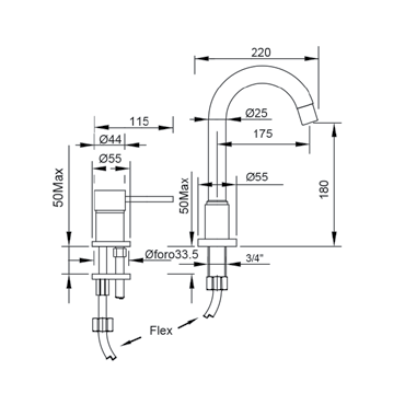 Bocca alta girevole per lavabo con miscelatore a comando remoto Simply 2661