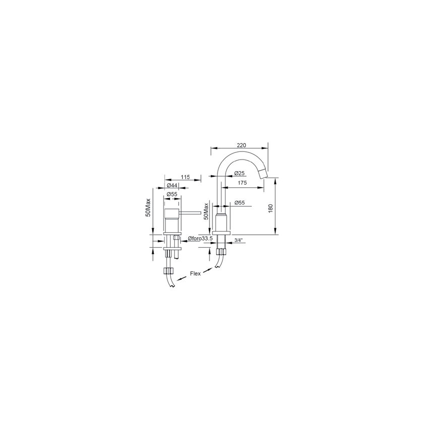 miscelatore comando remoto lavabo bagno Gaboli Flli rubinetteria Simply 2661