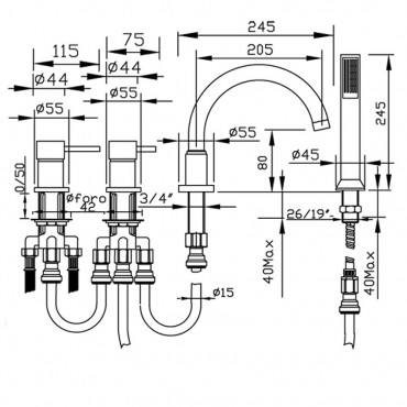 Miscelatore bordo vasca con kit doccia, 4 fori Simply 2695