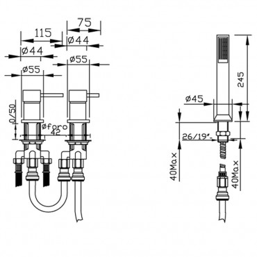 Miscelatore bordo vasca senza bocca, 3 fori Simply 2696