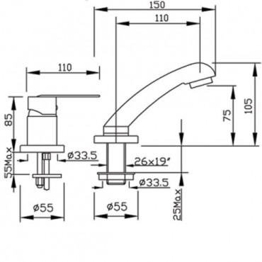 Miscelatore lavabo bagno con doccetta estraibile 4109 Gaboli Flli