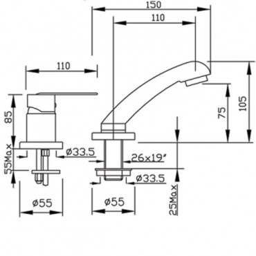 mitigeur lavabo dimensions 4109