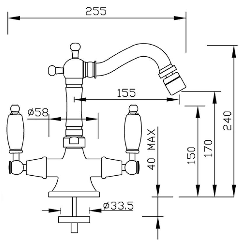 disegno rubinetti per bidet Lotus 917 Gaboli Fratelli rubinetteria