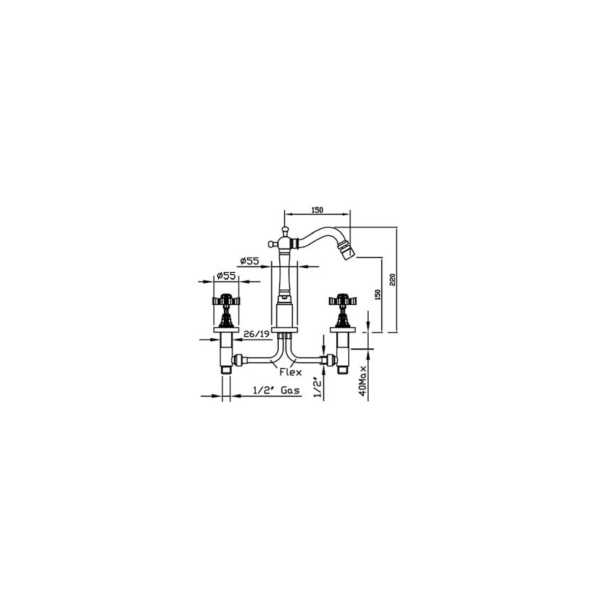 disegno rubinetteria bidet 3 fori Livingstone 953cc Gaboli F.lli rubinetteria