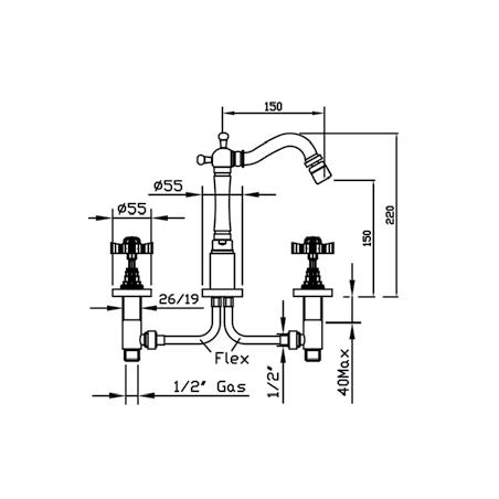 disegno rubinetteria bidet 3 fori Livingstone