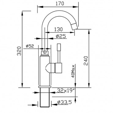 mitigeurs de salle de bain avec bec haut 2281 robinets Gaboli flli