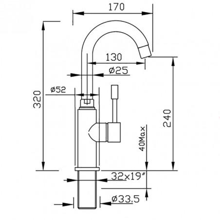 miscelatori bagno con canna alta 2281  Gaboli flli rubinetteria
