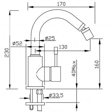 Miscelatore per bidet con canna alta girevole senza scarico Grillo 2286
