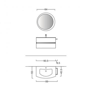 Mobile bagno curvo sospeso moderno 90 cm BMT Moon