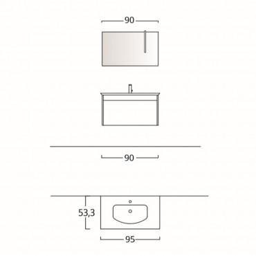 Arredo bagno moderno sospeso 70 cm o 90 cm BMT Mars 03