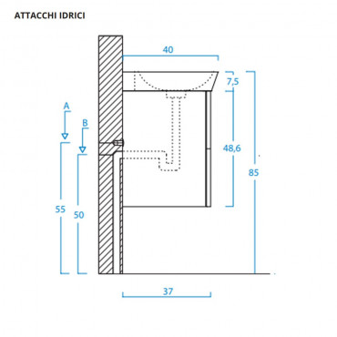 Meuble de salle de bain suspendu moderne 70 cm anthracite BMT Jupiter 09