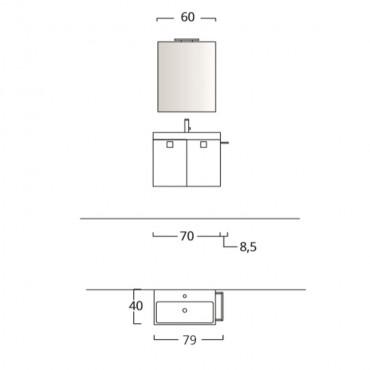 Mobile bagno 70 cm sospeso moderno antracite BMT Jupiter 09