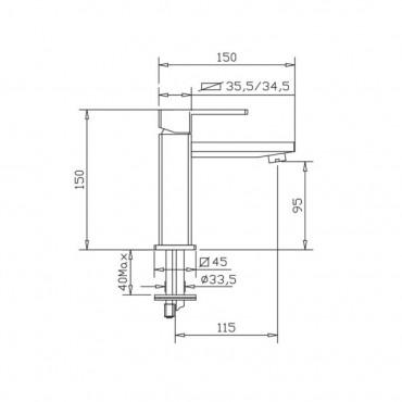 Mitigeur lavabo carré noir H2Q 3901 Gaboli F.lli
