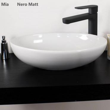 Grifería monomando lavabo acabado negro Gaboli Flli