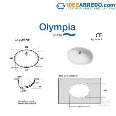 Lavabo bajo encimera óvalo Olympia