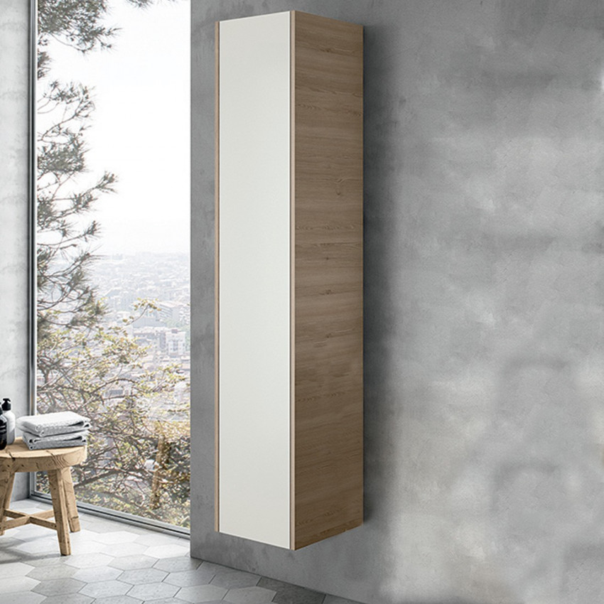 Colonna bagno sospesa design moderno bianco legno BMT Mars