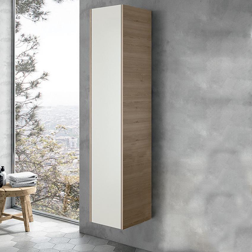 Colonne de salle de bain suspendue moderne en bois blanc BMT Mars