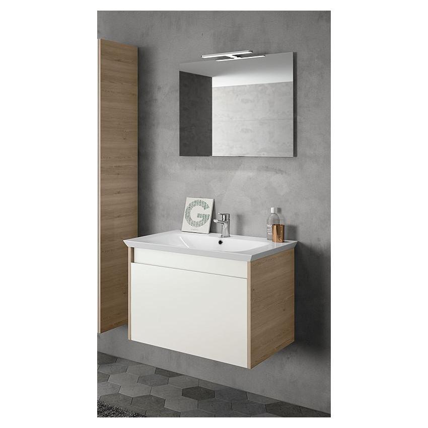 Mobile bagno moderno sospeso legno bianco 70 cm BMT Mars 02