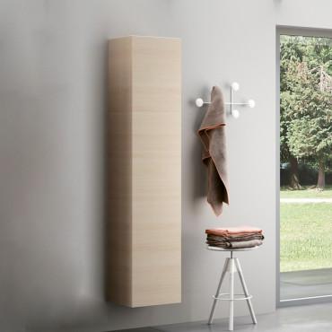 Colonne de salle de bain suspendue en bois clair BMT Moon 08